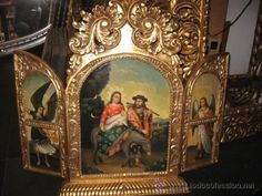 Triptico tallado en pan de oro ,oleo sobre lienzo (Arte - Arte Religioso - Trípticos)