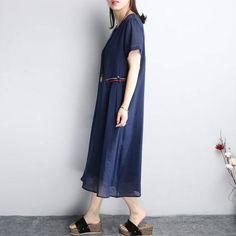 Women Summer Cotton Loose Linen Round Neck Dress