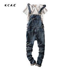 Men's Denim Jeans Trousers Paisley Overalls Suspender Jumpsuit Jeans Slim Fit