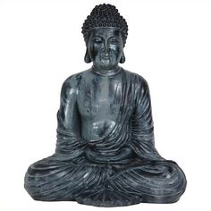 """Oriental Furniture 12"""""""" Japanese Sitting Buddha Statue ($39) ❤ liked on Polyvore featuring home, home decor, buddha statue, buddha sculpture, bronze buddha statue, buddha figure and buddha figurine"""