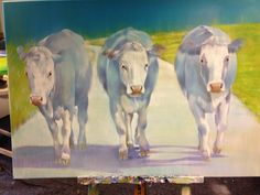 Three happy COWS Happy Cow, Cows, Painting, Animals, Canvas, Animaux, Painting Art, Animal, Paintings