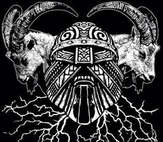 Thor and his goats, Tanngnjostr und Tanngrisnir. Goats, including the Yule Goat, are associated with Thor.