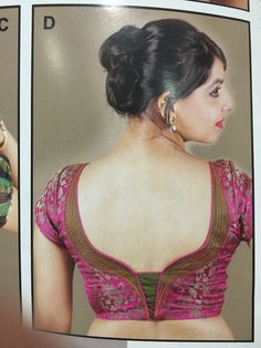 Back pattern More Patch Work Blouse Designs, Pattu Saree Blouse Designs, Simple Blouse Designs, Blouse Back Neck Designs, Choli Designs, Blouse Designs Silk, Designer Blouse Patterns, Wedding Dress, Neckline