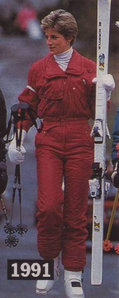 April 10, 1991:  Princess Diana & Lord Linley on a skiing holiday at Lech, Austria.