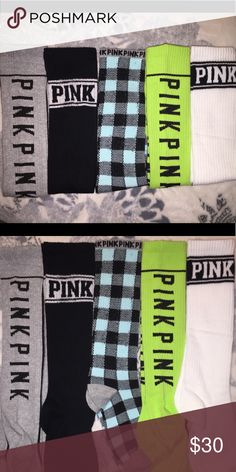 SALE‼️FIVE Pairs VS PINK Knee High Socks BRAND NEW VS PINK KNEE HIGH SOCKS   Product Details Don't forget to pack these cute, cozy knee-highs. Perfect for wearing out or hanging out in your dorm plus it comes in a set of five! Only from Victoria's Secret PINK.  5 pairs per pack Comes in a gift box Hits right below knee Imported cotton/polyester PINK Victoria's Secret Accessories Hosiery & Socks