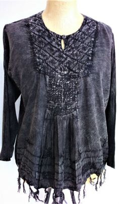 BRAND NEW Vintage Fringed Tunic top 5 Colours Embroidered Yolk UK Size 10 12 14 16 18 Black Brown Acid Wash Charcoal Denim Tan Navy Blue