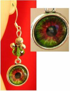 Silver Green Eye Glass Charm Earrings Handmade Jewelry Fashion Accessories