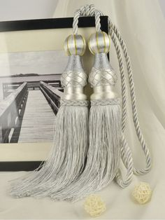 6 Colors QYM45 Polyester Curtain Tassel Tie Backs in Gray Color