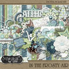 In The Frosty Air Digital Scrapbook Kit January, Winter, Snow, Snowflakes