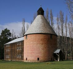 This oast house is located in New Norfolk, was part of the Hop growing industry, Derwent Valley, Tasmania Amazing Architecture, Architecture Art, Derwent Valley, Australian Houses, Gold Coast Australia, Tasmania, Australia Travel, Norfolk, Interesting Stuff