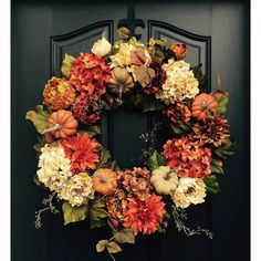 Fall Wreath Thanksgiving Wreath Front Door Wreath Holiday Home Decor... ($130) ❤ liked on Polyvore featuring home, home decor, holiday decorations, black, home & living, home décor, ornaments & accents, black halloween wreath, pumpkin wreath and black ornaments