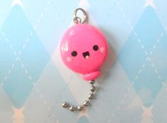 Kawaii Pink Balloon Charm Polymer Clay via Etsy