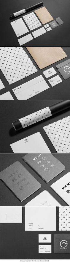 Love this pattern and how icons can be used independently on the memo notebooks. like the spacing and how modern the icons are. NOT hand drawn Brand Identity Design, Corporate Design, Corporate Identity, Graphic Design Typography, Visual Identity, Branding Design, Identity Branding, Branding And Packaging, Stationary Branding