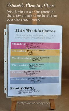 Get more organized with This Week's Chores printable!