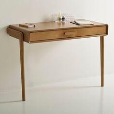 table bureau console avec tiroirs design scandinave bois et bois blanc versa treveris. Black Bedroom Furniture Sets. Home Design Ideas