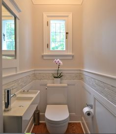 Beautiful tile stripe with classic wainscoting: Modern and timeless together | Design Cube via 320 Sycamore