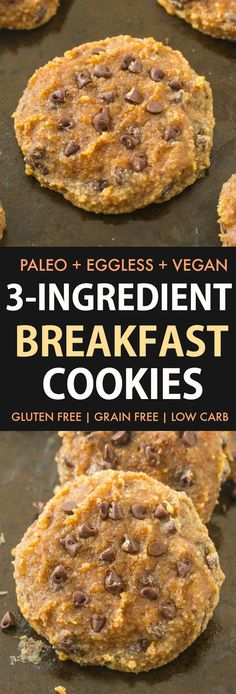 3 ingredient Paleo BREAKFAST Cookies are DELICIOUS and SO EASY! Made with NO eggs and NO sugar, they are a quick and easy breakfast cookie recipe made with almond flour and banana- Soft, chewy and LOADED with chocolate chips- It only takes 12 minutes! Paleo Breakfast Cookies, Banana Breakfast Cookie, Paleo Cookies, Savory Breakfast, Paleo Breakfast Casserole, Breakfast Quiche, Delicious Cookies, Brownie Cookies, Free Breakfast