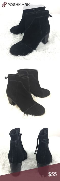 Toms Lunata Ankle bootie black suede Sz 6 TOMS Lunata Black Suede Side Zip Ankle Bootie Boots Block Heel Women's Size 6  Size: 7M Color: Black Style Name/Number:Lunata  In excellent preowned condition with no known flaws and minimal wear. Toms Shoes Ankle Boots & Booties