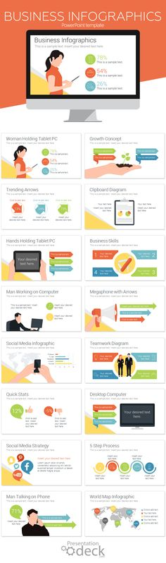 Business infographics for PowerPoint with 16 pre-designed slides including trending arrows, people with devices, grow concept, business skills, social media infographic, and more useful slides. Your business presentation starts here!