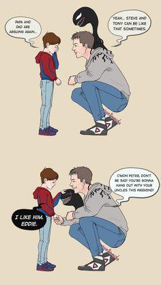 Eddie und V sind die besten Onkel! - # # Onkel # are # und - Avengers - Avengers Humor, Marvel Avengers, Funny Marvel Memes, Marvel Jokes, Dc Memes, Marvel Heroes, Funny Comics, Venom Comics, Marvel Comics