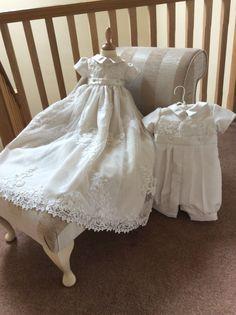 Wedding dress conversion.  Romper suit and convertible gown created from mummy's wedding dress.  www.firstblessingschristeningwear.com