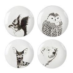 Set 4 assiettes porcelaine motifs animaux diametre 21cm - Howne