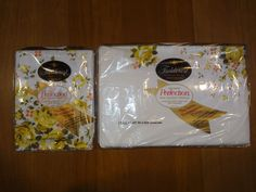 NOS VINTAGE NIP Full Flat Sheet & Pillowcases FIELDCREST Yellow Roses on White