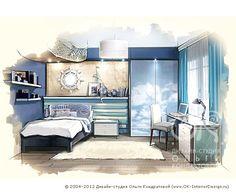 Дизайн интерьера детской комнаты для мальчика в морском стиле. Рисунок  http://www.ok-interiordesign.ru/ph_dizain-detskoy-komnaty.php