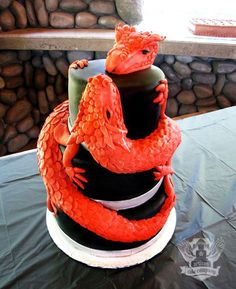 Sculpted dragon wedding cake.