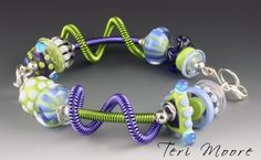 Free Shipping USA--DOWN  by the SEA   bracelet handmade sterling silver and lampwork bead wire wrapped hinged bangle  by Teri Moore sra M2 by terimoorelampwork on Etsy