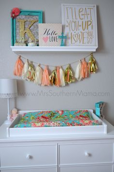 Coral and Turquoise Baby Girl Nursery www.MrsSouthernMama.com #nursery #babygirl…