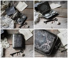 A wonderful antique Victorian era chatelaine German Silver coin purse and compact With beautiful etched and stamped flower floral patterning on both
