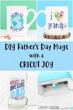 Create custom Father's Day mugs in minutes with a Cricut Joy! Diy Father's Day Mug, Father's Day Diy, Fathers Day Mugs, Fathers Day Crafts, Do It Yourself Organization, Diy Gifts For Dad, Worlds Best Dad, Diy Mugs, Happy Father