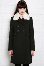 Pins & Needles Fur Collar Coat in Black at Urban Outfitters