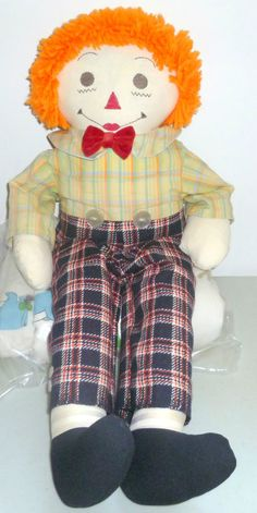 "VINTAGE RAGGEDY ANDY DOLL 25"" TALL DOLL COLLECTIBLE WITH CLOTH FORWARD FEET #Dolls"