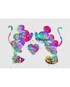 Mickey & Minnie Mouse Watercolor Art - VividEditions