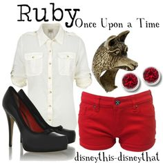 """Inspired by ABC's """"Once Upon a Time."""" Red Riding Hood or Ruby. Maybe flats instead of those shoes. Disney Bound Outfits, Disney Inspired Outfits, Themed Outfits, Disney Dresses, Disney Style, Disney Clothes, Nerd Fashion, Fandom Fashion, Disney Fashion"""