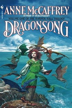 """Dragonsong by Anne McCaffrey. """"The first volume in the Harper Hall Trilogy, is the enchanting tale of how Menolly of Half Circle Hold became Pern's first female Harper, and rediscovered the legendary fire lizards who helped to save her world."""""""