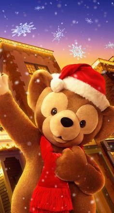 Holiday Wallpaper, Winter Wallpaper, Bear Wallpaper, Disney Wallpaper, Iphone Wallpaper, Duffy The Disney Bear, Disney Love, Very Merry Christmas, Disney Christmas