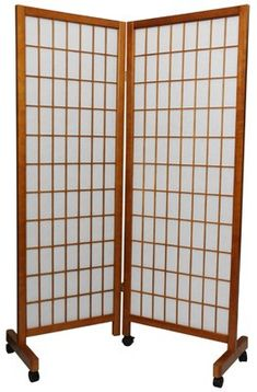 Oriental Furniture 5 ft. Tall Meditation Folding Room Divider - Honey - 2 Panels