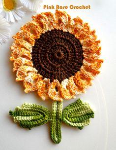 Pega Panelas Flor Girassol em Crochê