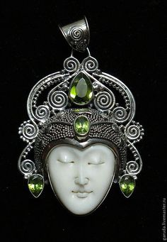 Pendants handmade. Livemaster - handmade. Buy pendant Buddha with peridot.925 sterling silver, copyright ISIN, cerebroretinal work