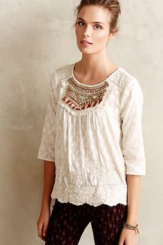 Jeweled Peasant Blouse #anthropologie MOST. PERFECT. SHIRT. EVER.