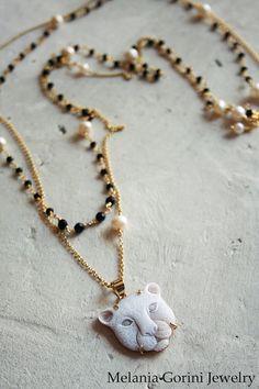 Beautiful double vermeil necklace with Leopard head cameo by MelaniaGoriniJewelry