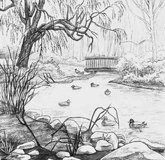 Scenery drawing pencil, pond drawing, pencil drawings of nature, pencil sketches easy, Scenery Drawing Pencil, Pond Drawing, Beautiful Pencil Drawings, Pencil Drawings Of Nature, Landscape Pencil Drawings, Drawing Faces, Garden Drawing, Drawing Artist, Sketch Drawing