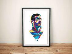 Eric Cantona poster I designed.   Cantona, seven, manchester united poster, man united poster, football poster, portrait