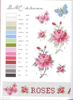 Points de croix *m cross stitch pink rose floral Butterfly Cross Stitch, Cross Stitch Love, Cross Stitch Flowers, Cross Stitch Charts, Cross Stitch Designs, Cross Stitch Patterns, Cross Stitching, Cross Stitch Embroidery, Beading Patterns