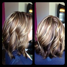 Amber Heater, Gorgeous Hair Salon, Salisbury MD (410)677-4675 Rich dark honey all over color with caramel highlights, big curls, shiny hair
