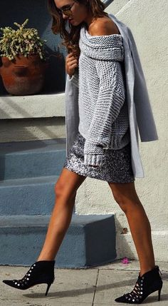 #fall #outfits Grey Off Shoulder Wool Knit // Grey Sequins Skirt // Black Studded Booties