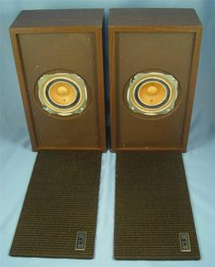 VINTAGE KLH MODEL FIFTY SPEAKERS WITH INTACT GRILLES & LOGOS, SOUND GREAT